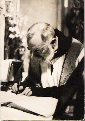 Padre Pio signing Wedding Registry