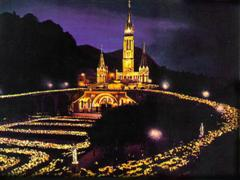 Lourdes Basilica at night