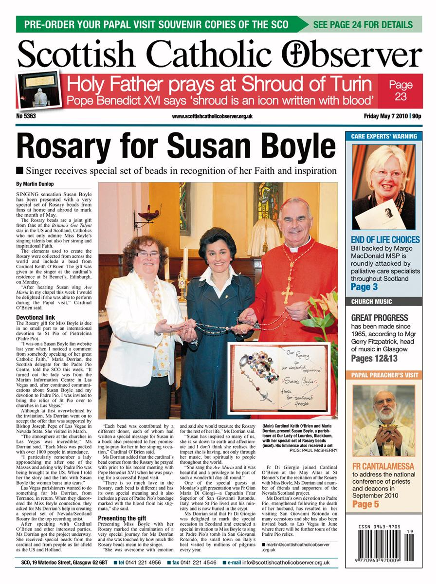 Front Page of The Scottish Catholic Observer with the story